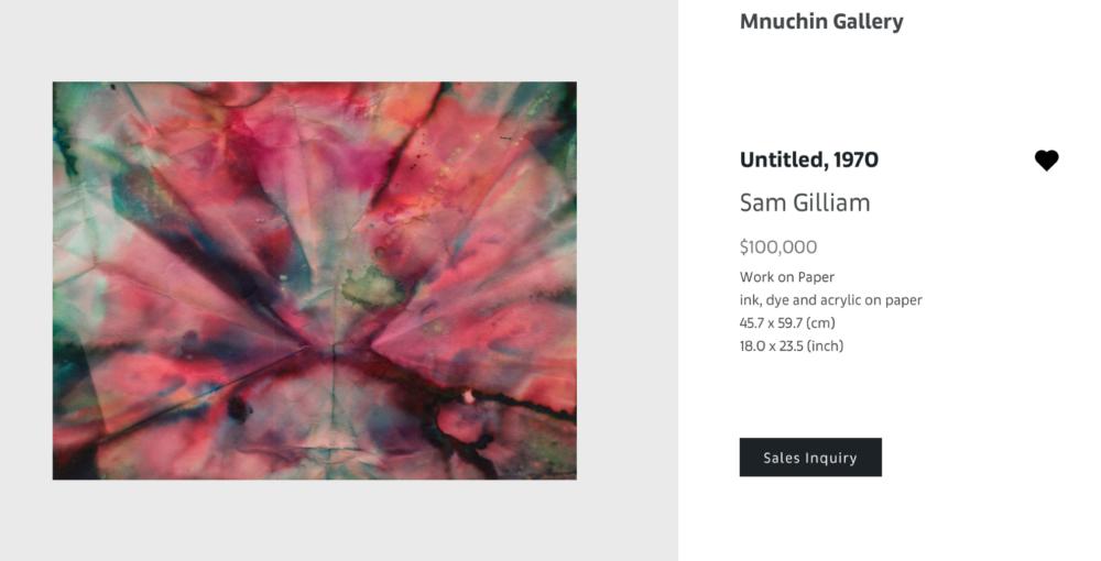 SAM GILLIAM, Untitled, 1970, opera su carta (inchiostro, colorante e acrilico), 45.7x59.7 cm - $100.000