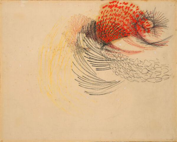 Tancredi Parmeggiani, Senza titolo, 1953. Firmata Tancredi in basso a destra, tecnica mista su carta intelata, cm 73x90. Stima 12.000-16.000 euro