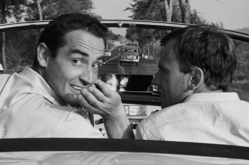 Vittorio Gassman con Jean Louis Trintignan in Il sorpasso