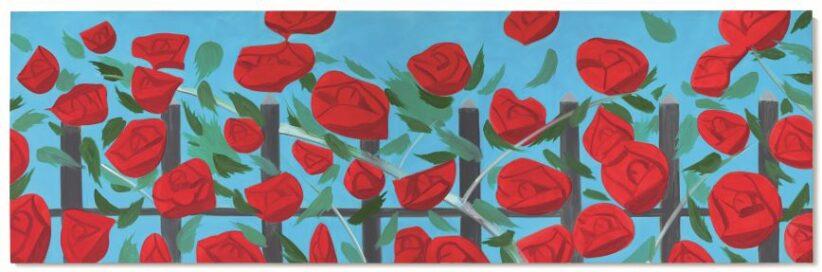 a Alex Katz, Roses on blue, 2002, 122x381cm