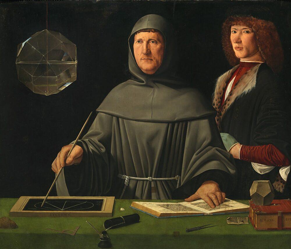 Jacometto Veneziano (?), Ritratto di fra Luca Pacioli con un allievo, 1495 circa, Napoli, Museo e Real Bosco di Capodimonte