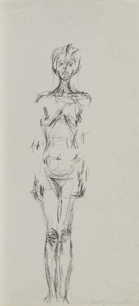Alberto Giacometti Femme nue debout II, 1960-1961 Manifesto dell'esposizione Alberto Giacometti alla Galerie Maeght, 1961 Litografia 35,5 x 7,5 cm, parte litografata