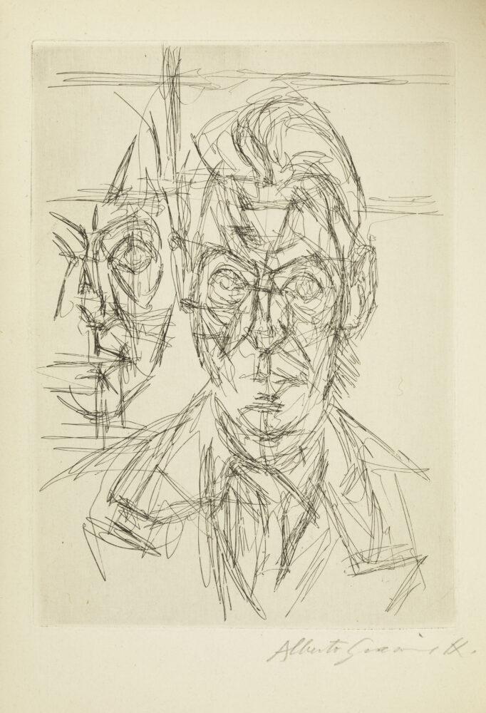 Alberto Giacometti André du Bouchet I, 1955-1956 Illustrazione per il frontespizio di André du Bouchet, Dans la chaleur vacante, Paris 1961 Acquaforte 16,7 x 12,2 cm, matrice