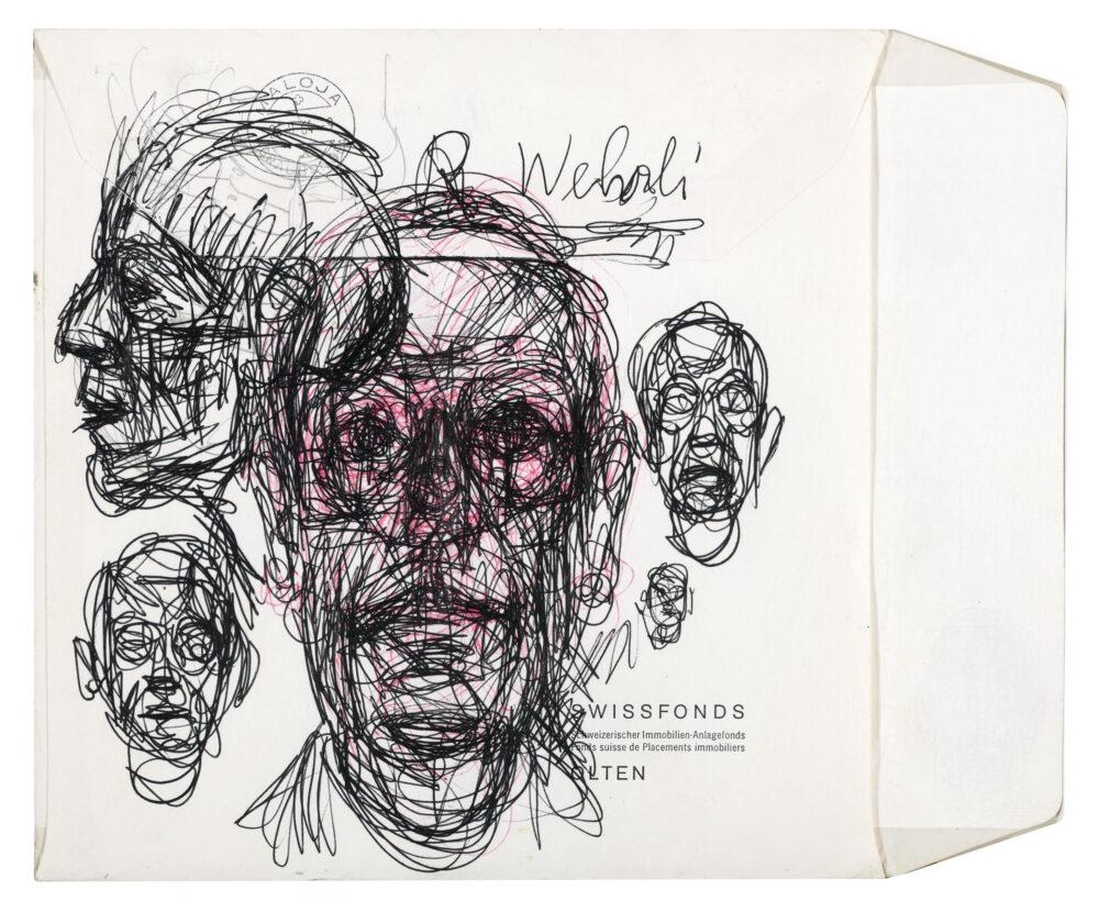 Alberto Giacometti Portraits René Wehrli (esquisses) / Portraitskizzen René Wehrli, 1964 Penna a sfera su busta 22 x 26,5 cm Kunsthaus Zürich, Grafische Sammlung, Alberto Giacometti-Stiftung, Zürich (©ProLitteris)
