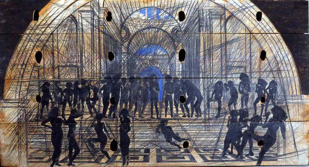 Scuola di Atene, 1981, tecnica mista su legno