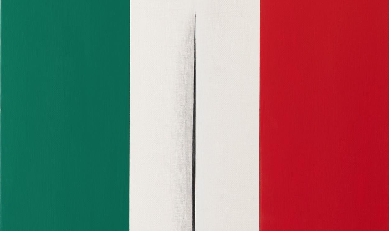 Il tricolore di Vezzoli, omaggio a Fontana, all'asta da Sotheby's per la ricerca sul Covid-19