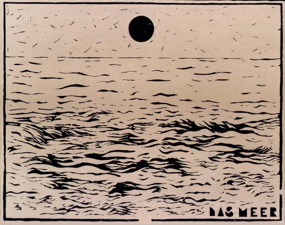 Aldo Mondino, Das meer, 1980, olio su tela, cm 115x140
