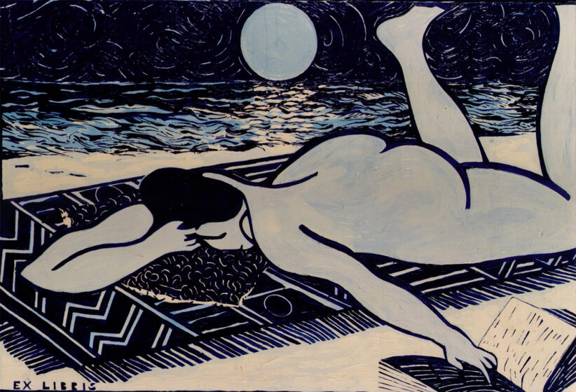 Aldo Mondino, Ex Libris, 1979, olio su Tela, cm 100x145