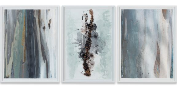 María Magdalena Campos-Pons, Mother Tree. Rooted by the Spine, 2019/20, mixed media on archive watercolor paper triptych: 66 x 101,5 cm each csy the artist and Galleria Giampaolo Abbondio, photo-credits: Antonio Maniscalco