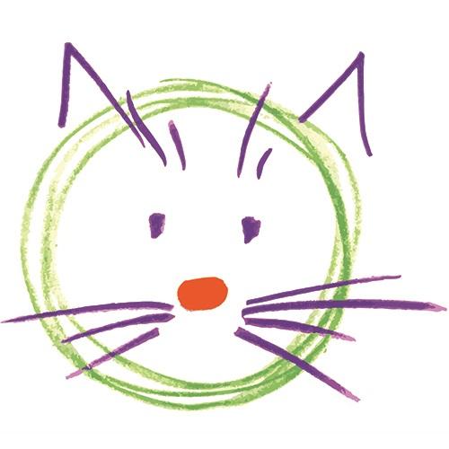 disegno di un gatto esposto nella mostra 'Tra Munari e Rodari'