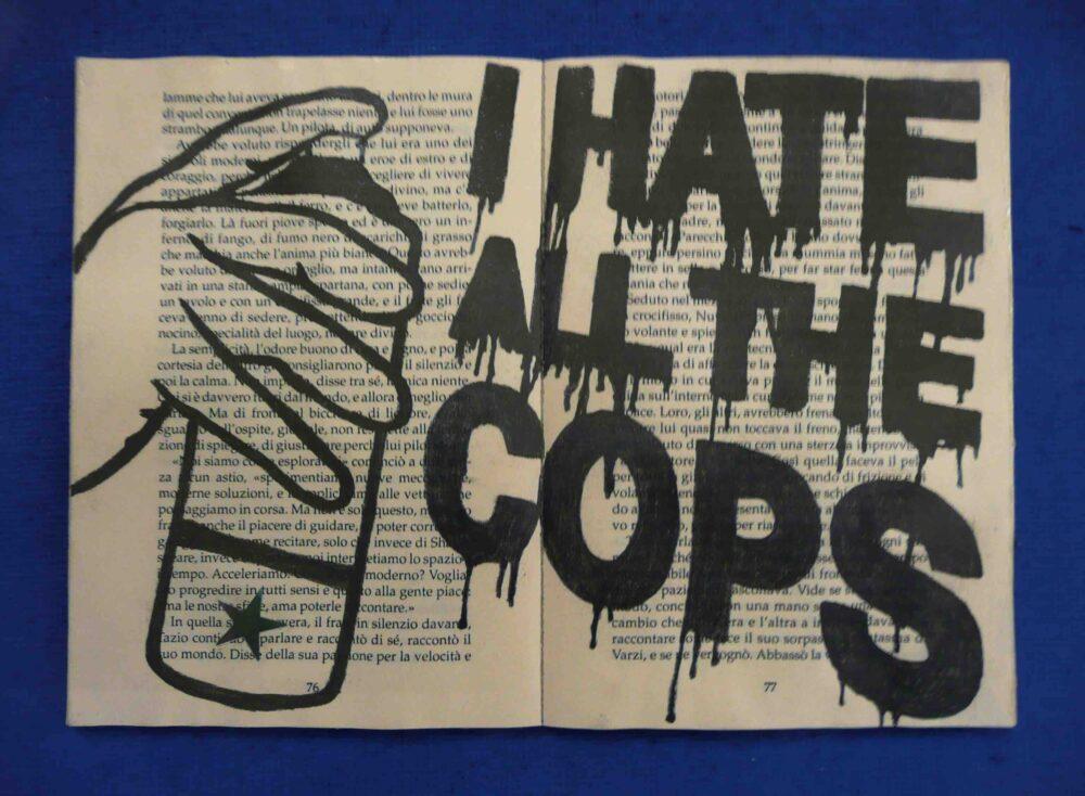 Joe Strummer said to me - Matita su libro cucito su tela - cm 25 X 35 - 2005 - Collezione Privata