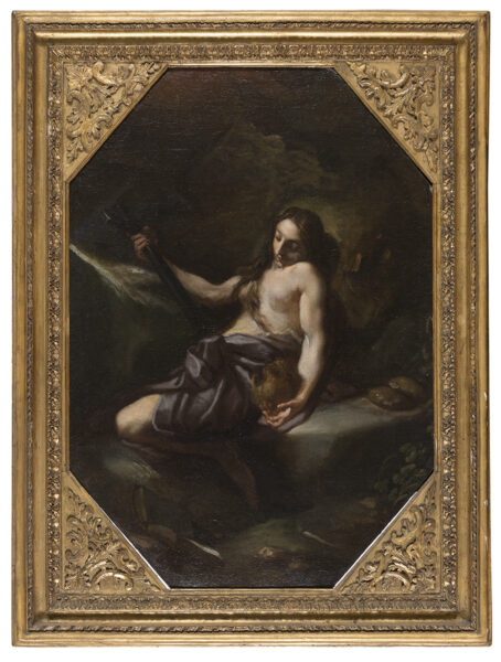 Lotto 64 - Benedetto Lutti, Paesaggio con Maria Maddalena, Olio su tela ottagonale, cm. 75 x 52. Stima 5.000-7.000 euro