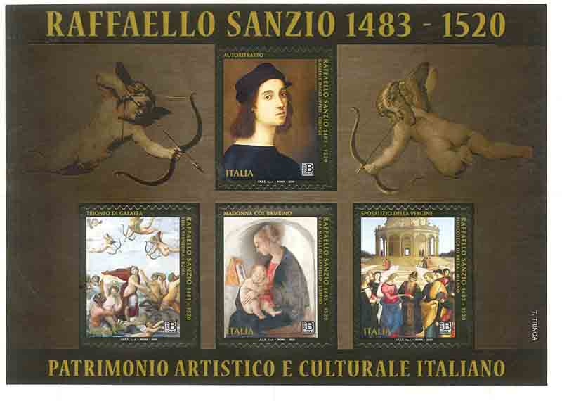 Dentelli divini. Il cinquecentenario di Raffaello in francobolli e monete