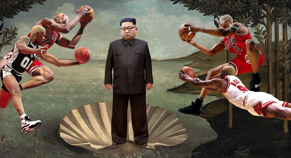 Parodia del dittatore nordcoreano visto come la Venere del Botticelli