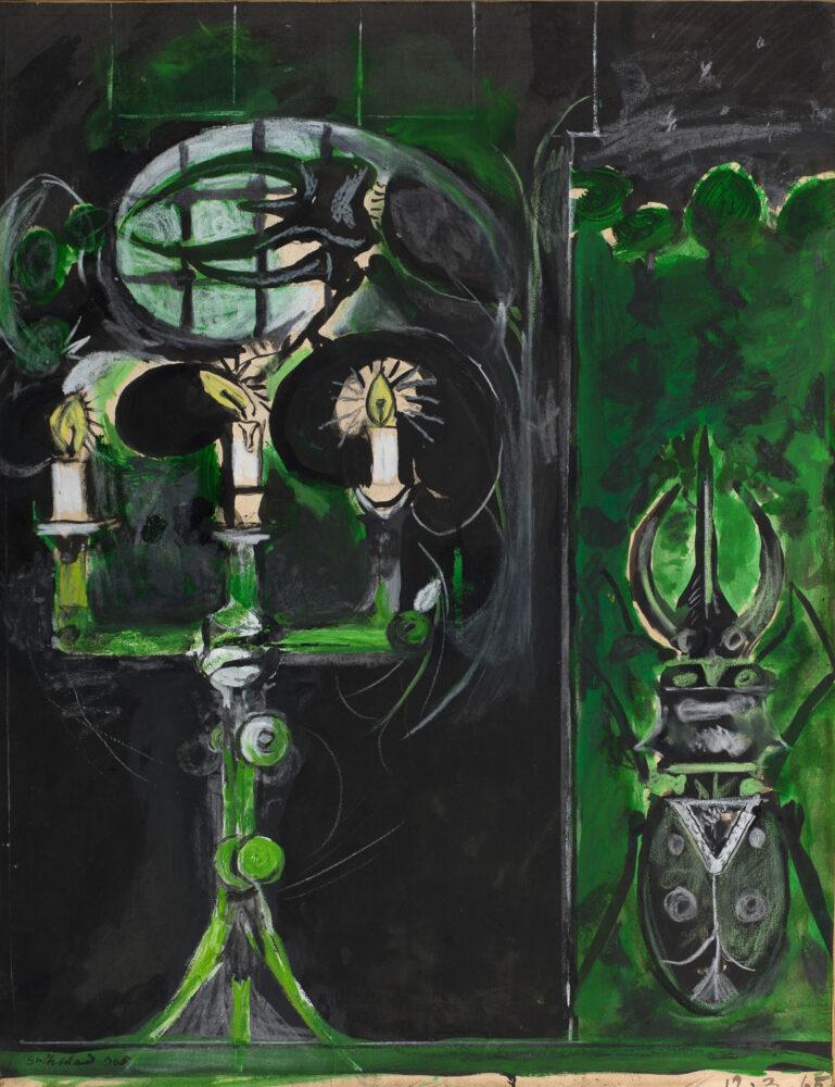 "Graham V. Sutherland, Dal ""Bestiario"", 1968, Tecnica mista su cartone telato"