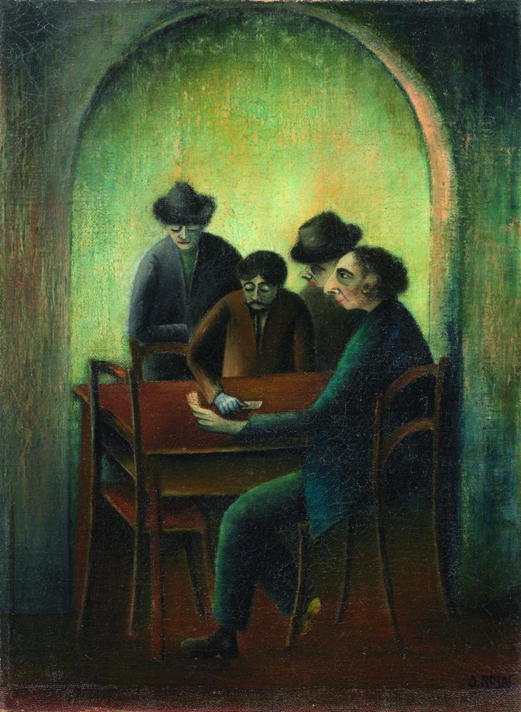 Ottone Rosai: Partita a briscola (La partita a scopa) (1920) Olio su tela, cm 70x50