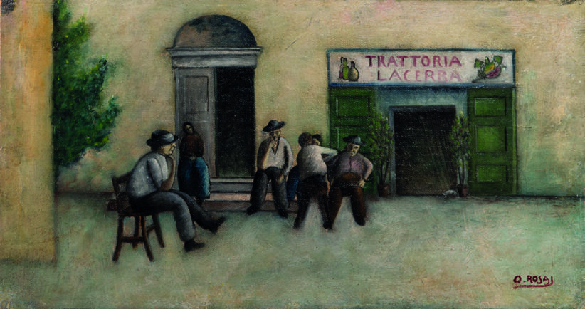 Ottone Rosai: Trattoria Lacerba (1921) Olio su tela applicata su tavola, cm 20,3x39
