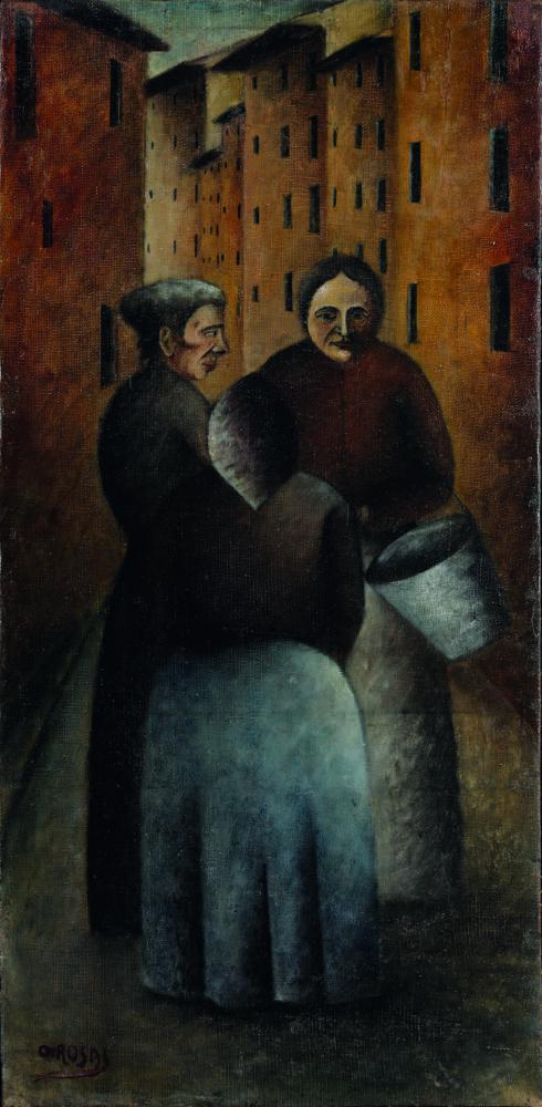 Ottone Rosai: Incontro in via Toscanella (1922) Olio su tela, cm 70x35