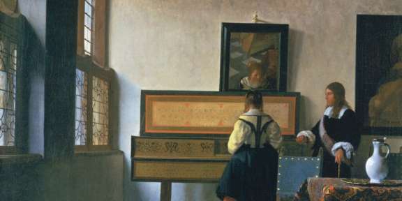 Johannes Vermeer, Donna ad una verginale, con un uomo, 1660 ca, Royal Collection, Londra (particolare)