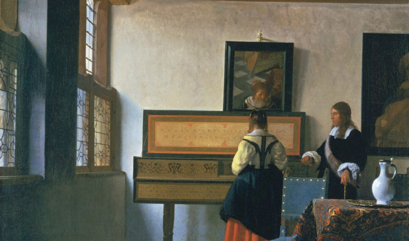 Johannes Vermeer, Donna ad una verginale, con un uomo, 1660 ca, Royal Collection, Londra (particolare)