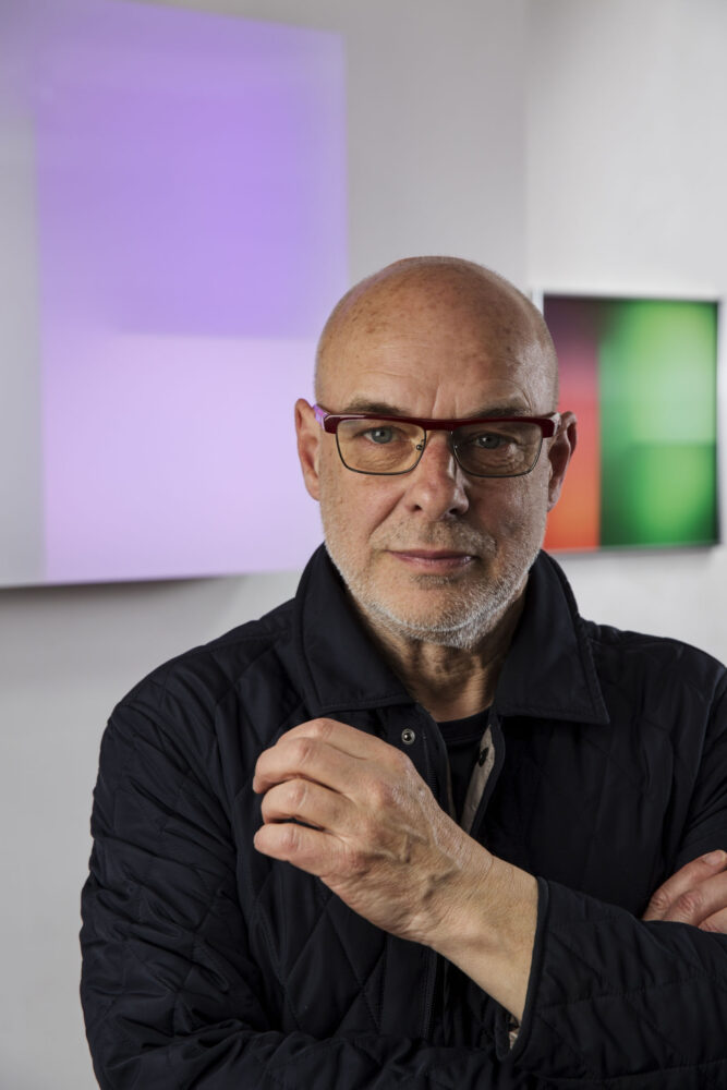 Brian Eno Photography copyright Mike Abrahams, courtesy Paul Stolper Gallery, 2020