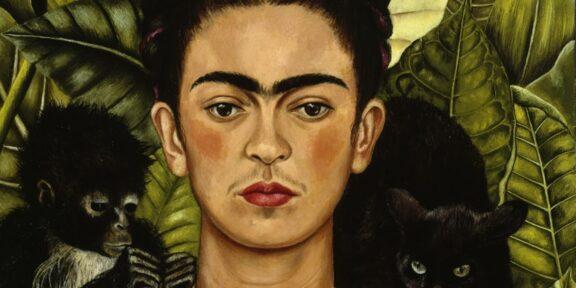Frida Kahlo autoritratto con scimmia e pantera