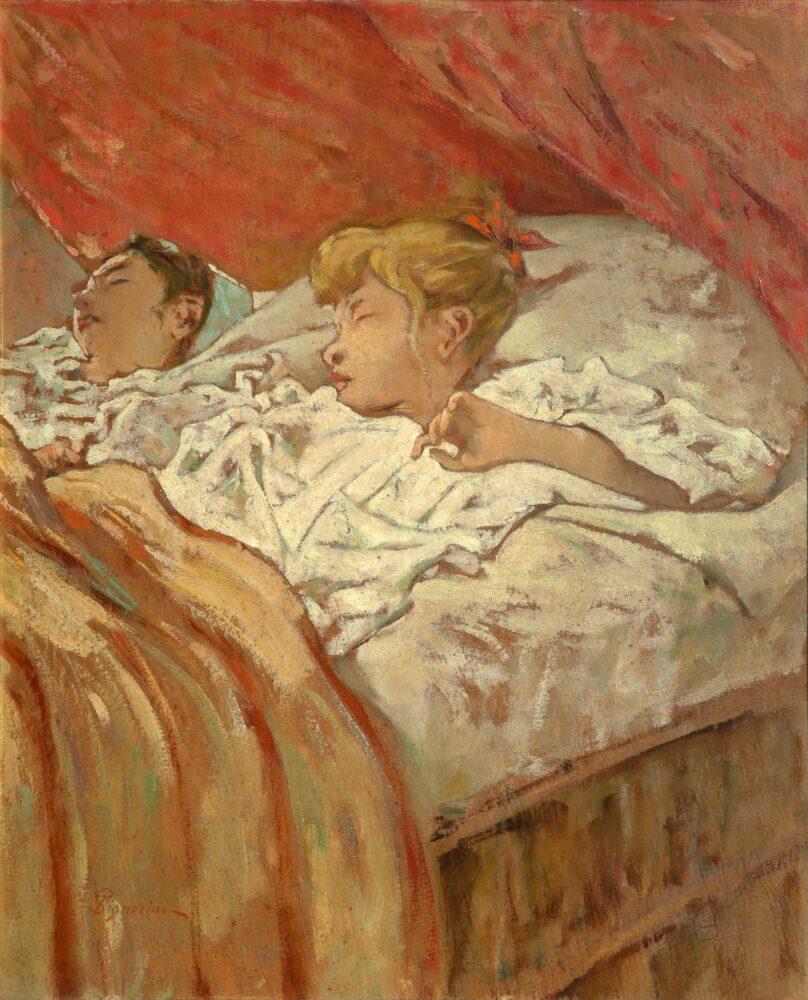 T.Signorini_Bambini colti nel sonno_1896_Olio su cartone, cm. 49,5x40_Collezione privata