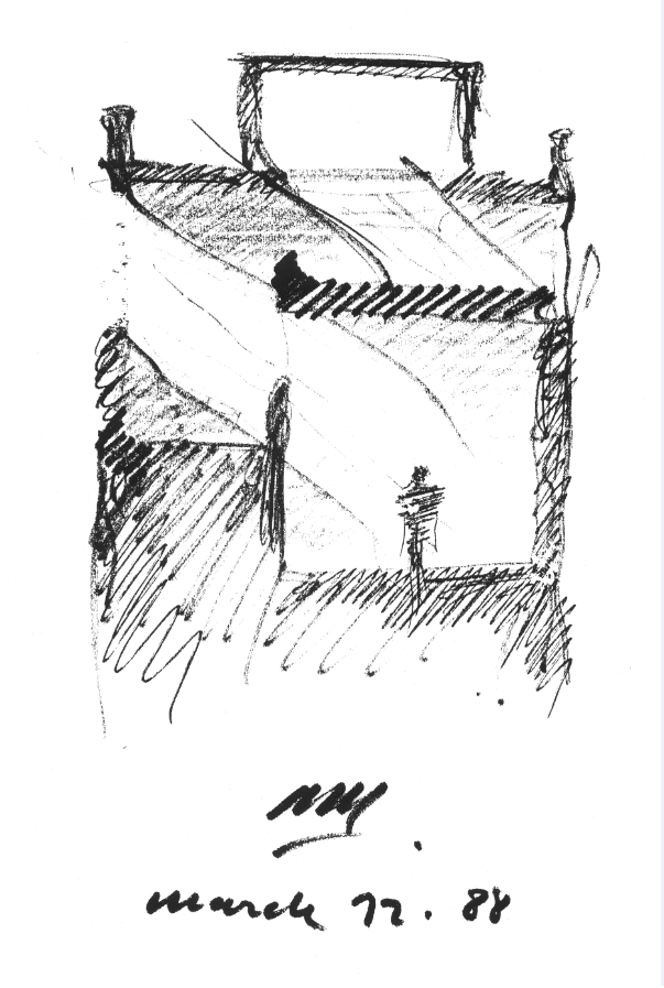 Alberto Campo Baeza, Turégano House, matita su carta, 1988