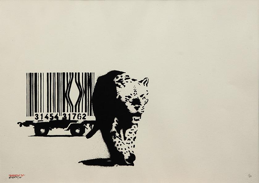 "Banksy Barcode"", 2004, serigrafia su carta, screenprint on paper, Artrust"