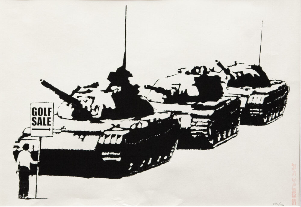 """Banksy - ax Britannica (Wrong War)"""", 2004, serigrafia su carta, screenprint on paper, Collezione privata, Private collection"""