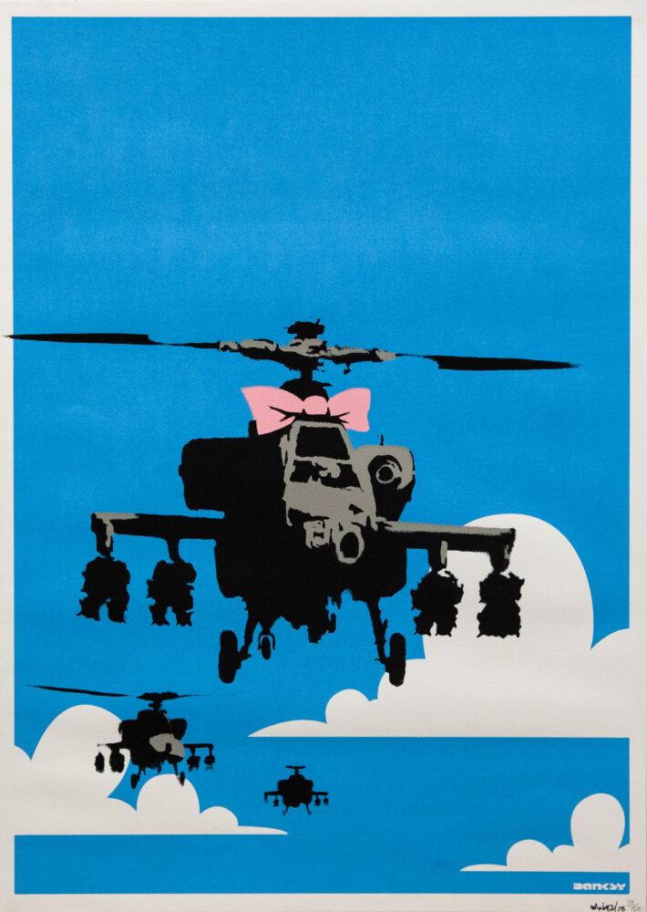 "Banksy-Happy Choppers"", 2003, serigrafia su carta, screenprint on paper, Brandler Galleries (Brentwood"