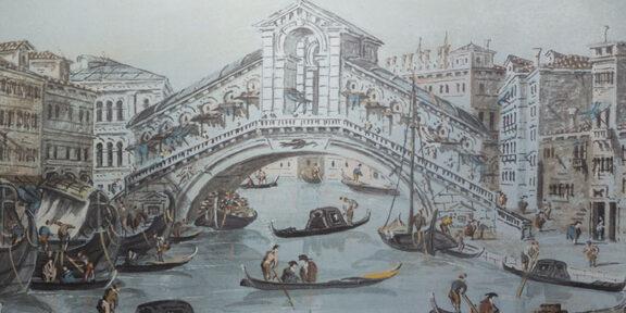 Giacomo Guardi, Il ponte di Rialto da sud, 1800 circa