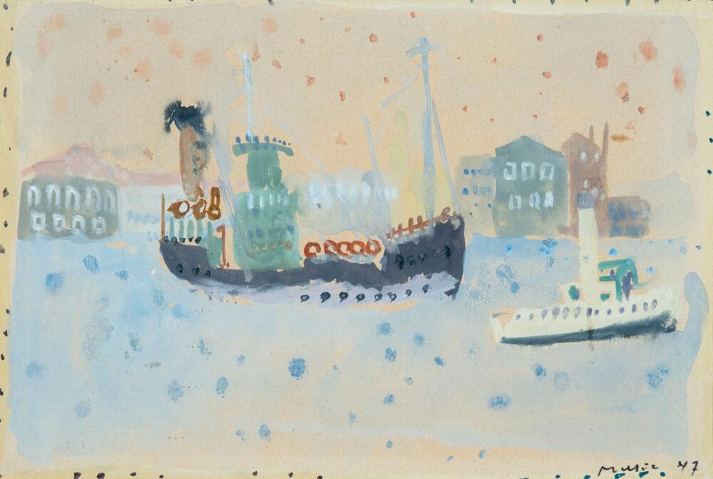 Zoran Music, Rimorchiatore e nave, 1947 © 2020, ProLitteris, Zurich