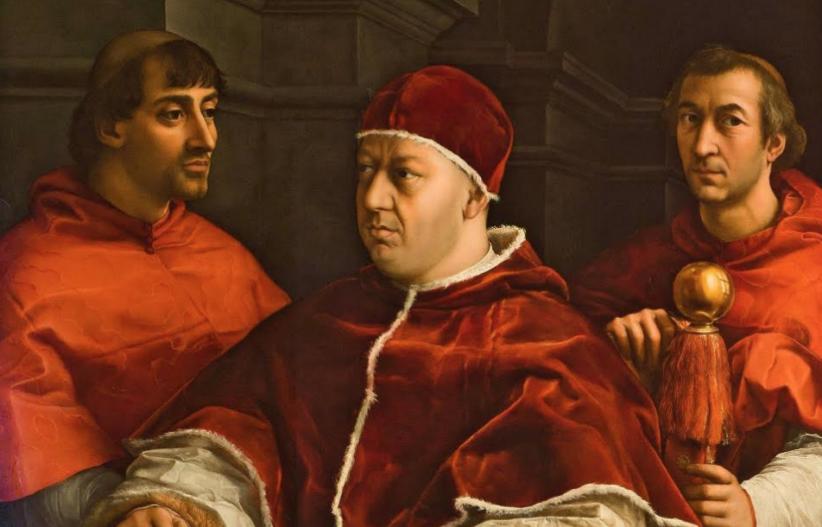 Raffaello, Ritratto di Papa Leone X con i cardinali Giulio de' Medici e Luigi de' Rossi, particolare