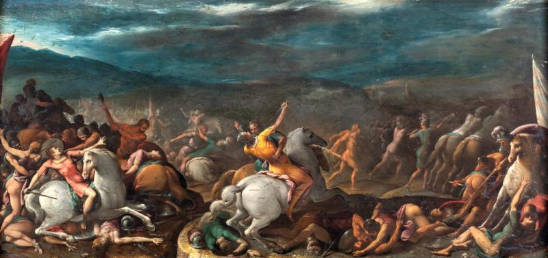 Lotto 76 - Gaspare Celio, Ercole e Teseo contro le amazzoni, olio su tavola, cm 66x140. Stima 60.000-80.000 euro