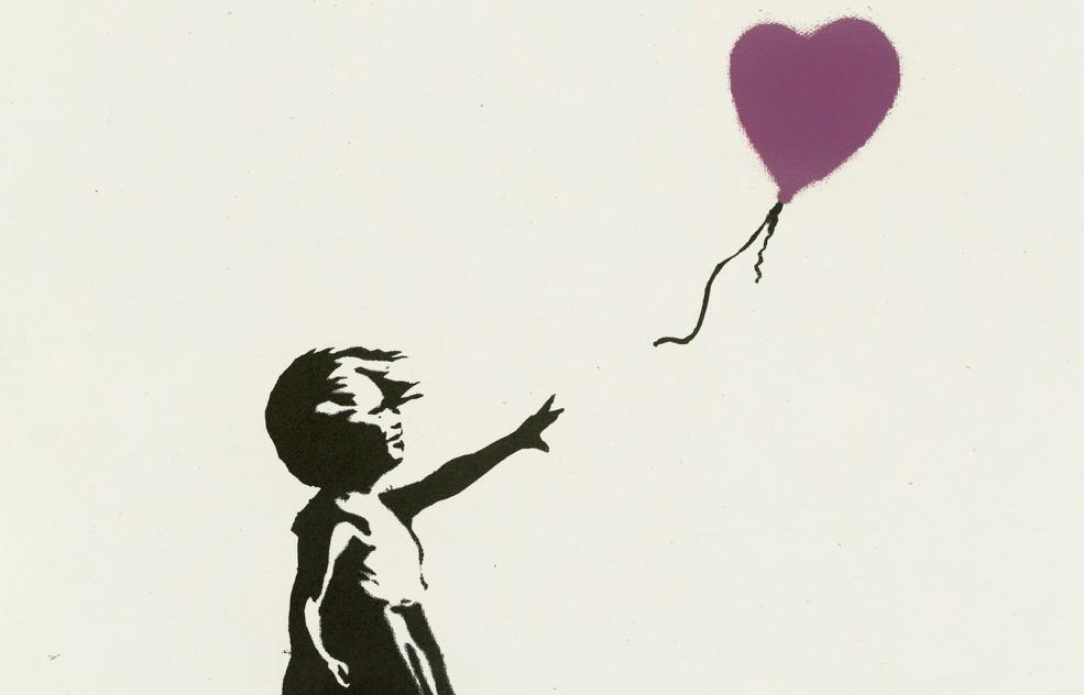 100% di venduto per l'asta online di Banksy da Christie's. Record per la ragazza col palloncino
