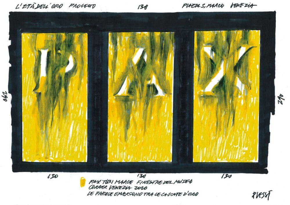 Fabrizio Plessi, Schizzo per L'età dell'oro, Museo Correr, Venezia, 2020.