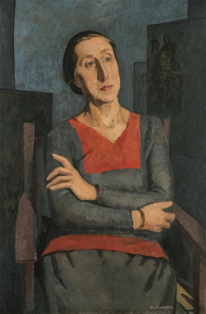 Felice Casorati Ritratto della sorella Elvira, 1934 90 x 60 cm Olio su tavola. Bottega Antica, Bologna
