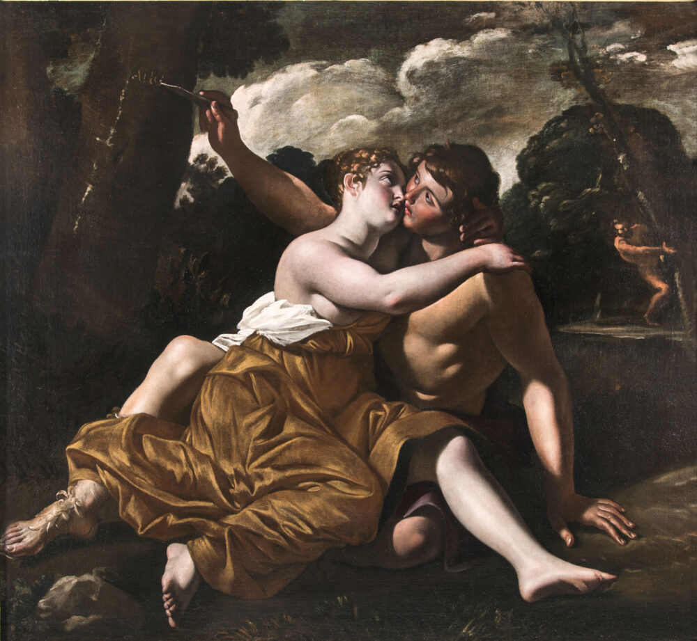 Giovanni Lanfranco : Il bacio di Angelica e Medoro, 168 x 182 cm. Olio su tela. Alessandra Di Castro Antichità, Roma (I)