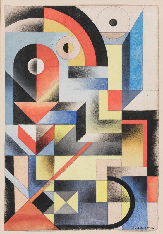 Lotto 106 - Nicolaj Diulgheroff (Kunstedil 1901 - Torino 1982), Composizione astratta, 1928, tempera su carta, cm. 51 x 34. Stima 2.500-3.500 euro