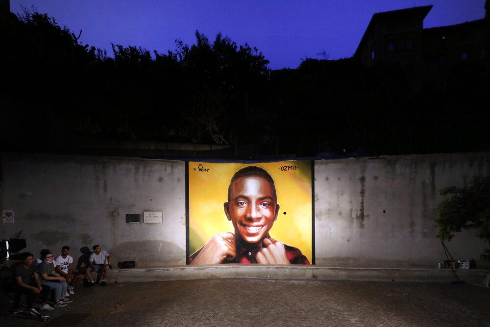 Paliano (ROMA), il murales di OZMO dedicato a Willy Monteiro Duarte, presso il suo paese di origine. foto di Marco Garofalo