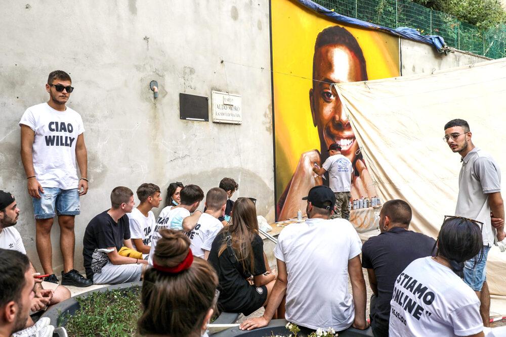 aliano (ROMA), il murales di OZMO dedicato a Willy Monteiro Duarte, presso il suo paese di origine. foto di Marco Garofalo