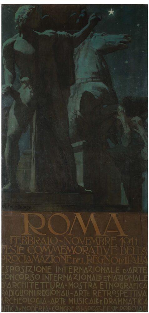 Vittorio Grassi_Feste commemorative della prolamazione del regno d Italia_1910 ca_olio su tela_cm200x69, firmato in basso a sinistra