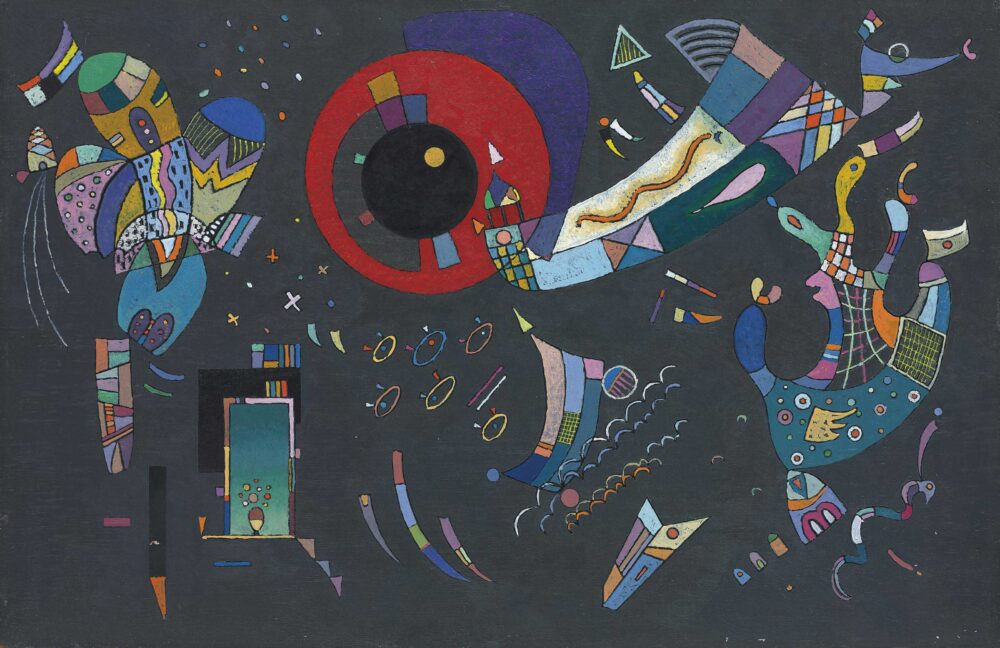 Kandinsky Around the Circle (Autour du cercle) May–August 1940 Oil and enamel on canvas 97.2 × 146.4 cm Solomon R. Guggenheim Museum, New York, Solomon R. Guggenheim Founding Collection 49.1222 © Vasily Kandinsky, VEGAP, Bilbao, 2020