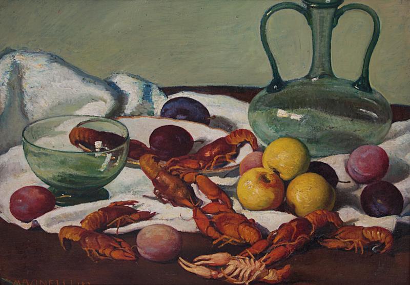 Lotto 37 - Leo Masinelli, Scampi e frutta, olio su cartone cm 49x58. Stima 1.000-1.200. Partenza 400 euro