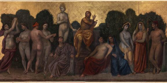 Achille Funi - Il Parnaso, 1948-1953, tempera e foglia d'oro su tavola, cm 212 x 476
