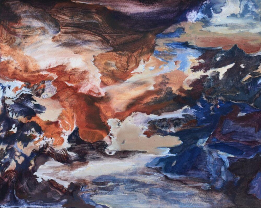 """Alice Faloretti, """"Una sera sulla neve"""", olio su carta, 40x50 cm, 2020"""