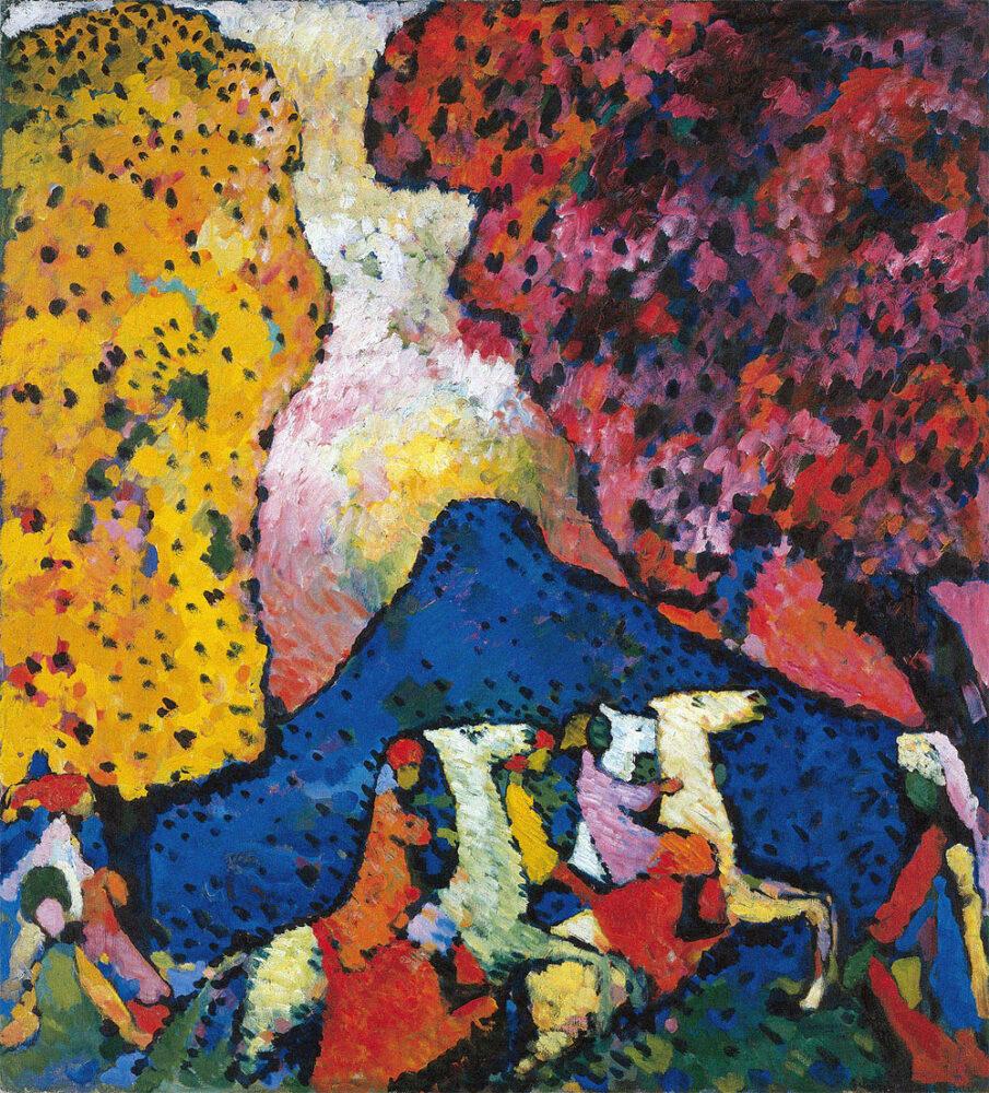 Kandinsky Blue Mountain (Der blaue Berg) 1908–09 Oil on canvas 107.3 × 97.6 cm Solomon R. Guggenheim Museum, New York, Solomon R. Guggenheim Founding Collection, By gift 41.505 © Vasily Kandinsky, VEGAP, Bilbao, 2020