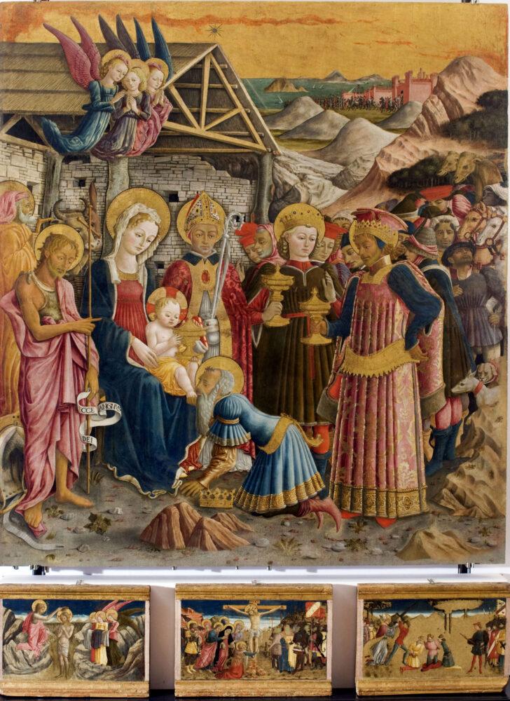 Benedetto Bonfigli (Perugia1418/20-1496), Adorazione dei Magi con san Giovanni Battista e san Nicola di Bari tempera su tavola, cm 186,5 x 167 x 1,5