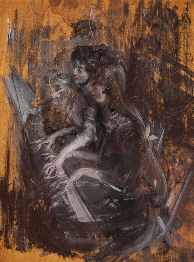 Bottegantica, Milano_ Boldini - due giovani donne al pianoforte_c. 1911_Olio su tavola, 35 x 26,5 cm.Scritta al verso di Emilia Boldini Cardonan. 137B invent.Boldini,Emilia Boldini Cardona,1931